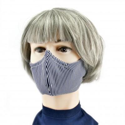 Masque Facial -  Rayures étroites bleues/blanches