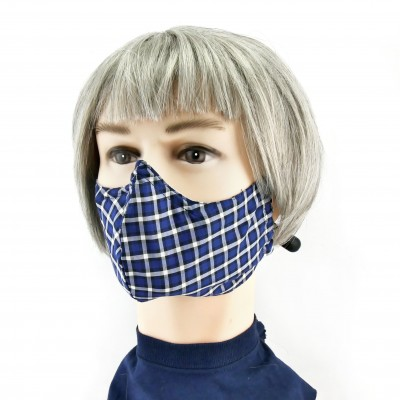Masque Facial -  Bleu à carreaux