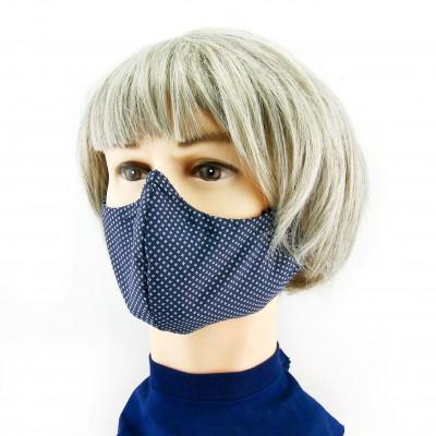 Masque Facial -  Bleu foncé à petits motifs blancs