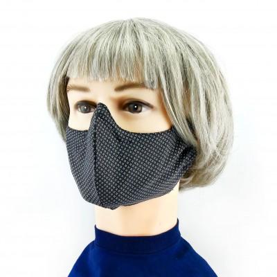 Masque Facial -  Noir avec petits motifs blancs