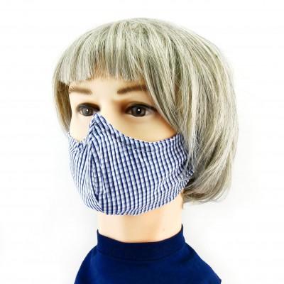 Masque Facial -  Damier bleu/blanc