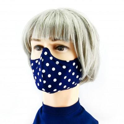 Masque Facial -  Bleu à gros pois blancs