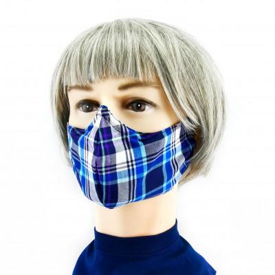 Masque Facial -  Damier bleu foncé/bleu clair