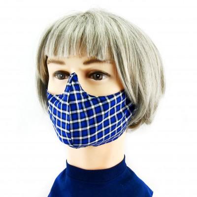 Masque Facial -  Damier bleu/gris