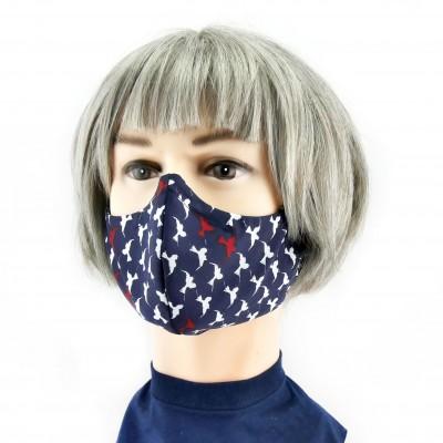 Masque Facial -  Bleu foncé avec oiseaux