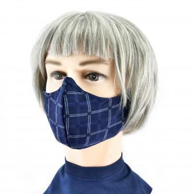 Masque Facial -  Bleu foncé à grands carreaux blancs