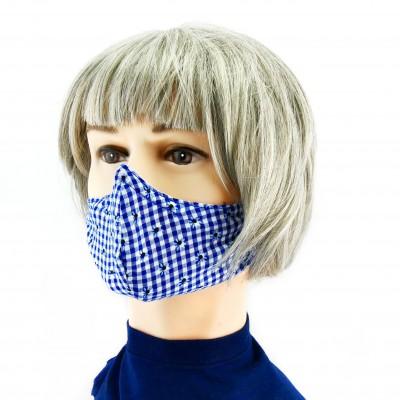 Masque Facial -  Damier blanc/bleu