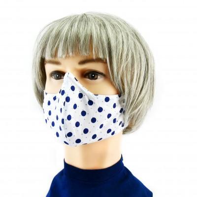 Masque Facial -  Blanc à pois bleus
