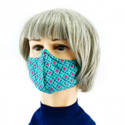 Masque Facial -  Vert à motifs roses