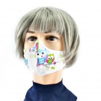 Masque Facial -  Blanc avec hiboux