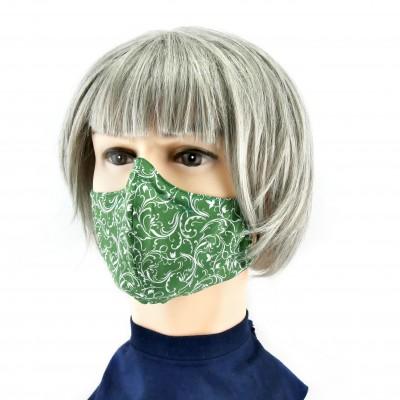 Masque Facial -  Vert à fleurs blanches