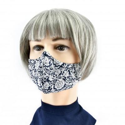 Masque Facial -  Bleu à fleurs blanches