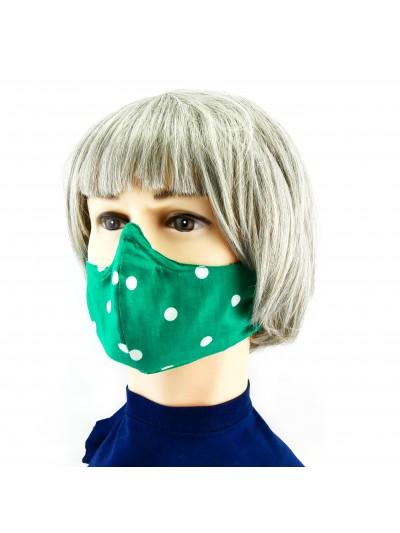 Masque Facial -  Vert à gros poids blancs